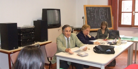 Delivering a lecture to the advanced students of composition at the Conservatorio of Lucca in Italy