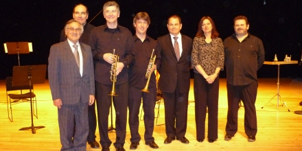 A group photo of the musicians together with Ambassador Miggiani after a concert of my works at the Studio of the Opera de Bastille in Paris