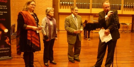 Being introduced as Chairman of the Jury to read the results during the National Music Competition in Oslo, Norway.