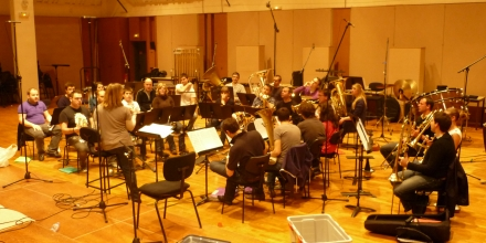 The Paris Brass Band during the recording of the Concertino for Cornet and Brass Band in the recording studios of the Orchestre Nationale de L'Isle de France, in Paris