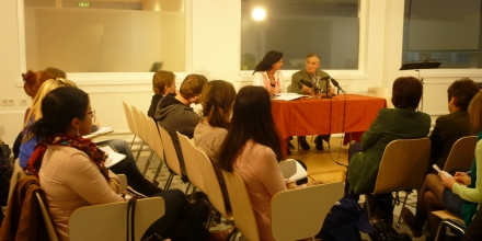 With Prof Sabine Coelsch- Foisner during an illustrated talk on my work as a composer at the University of Salzburg, Austria