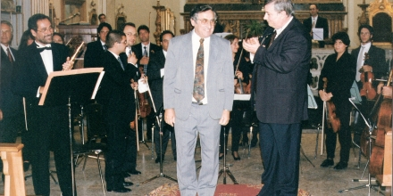 Receiving the applause after the performance of the Concerto for Flute and Orchestra in Palermo with top Italian Flutist Mario Ancillotti