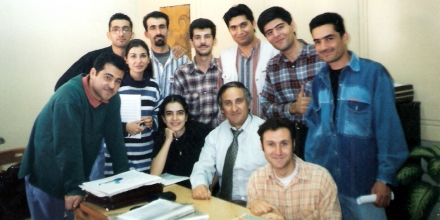 With the students attending my Master Class in Composition at the High School of Music in Damascus , Syria
